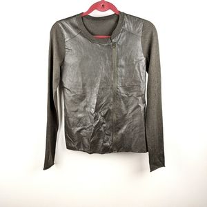 My Tribe Front Leather Sweater